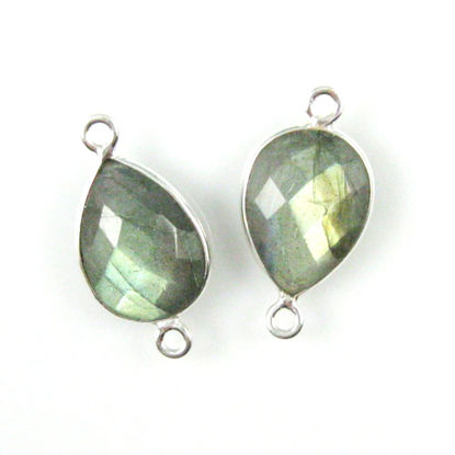 Wholesale Sterling Silver Bezel Gemstone Links - Faceted Pear Shape - Labradorite