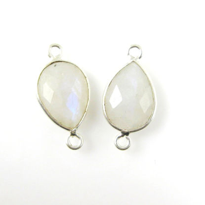 Wholesale Sterling Silver Bezel Gemstone Links - Faceted Pear Shape - Moonstone - June Birthstone