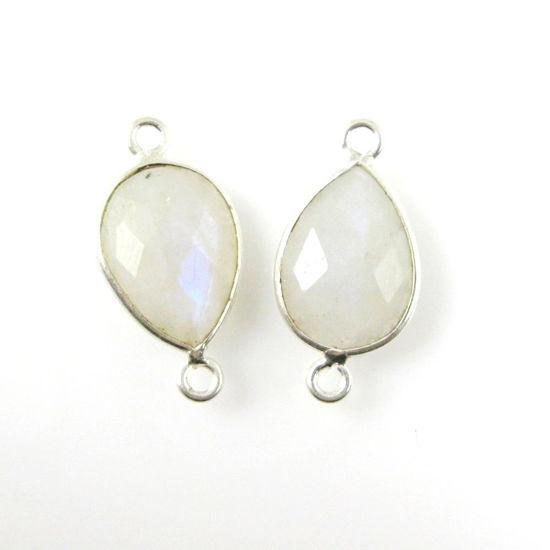 Wholesale Sterling Silver Bezel Gemstone Links - Faceted Pear Shape - Moonstone - June Birthstone