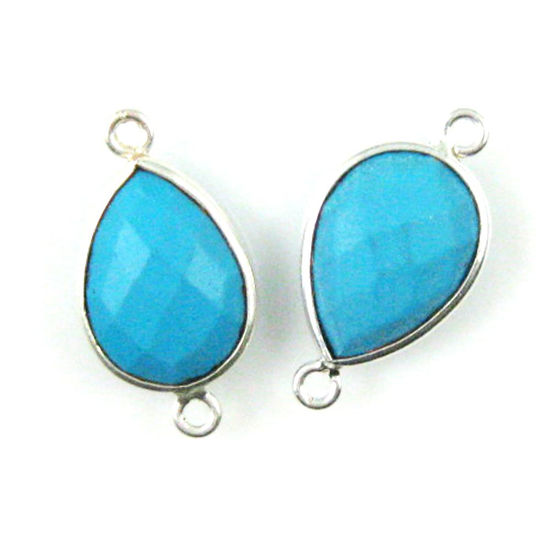 Wholesale Sterling Silver Bezel Gemstone Links - Faceted Pear Shape - Turquoise
