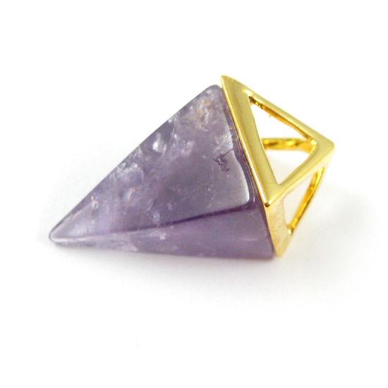 Wholesale Druzy Gemstone Amethyst Triangle Spike Pendant