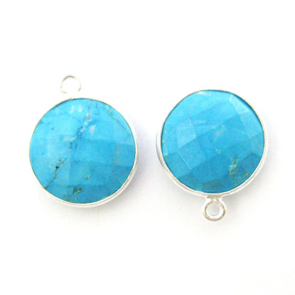 Wholesale Sterling Silver Round Bezel Turquoise Gemstone Pendant, Wholesale Gemstone Pendants for Jewelry Making