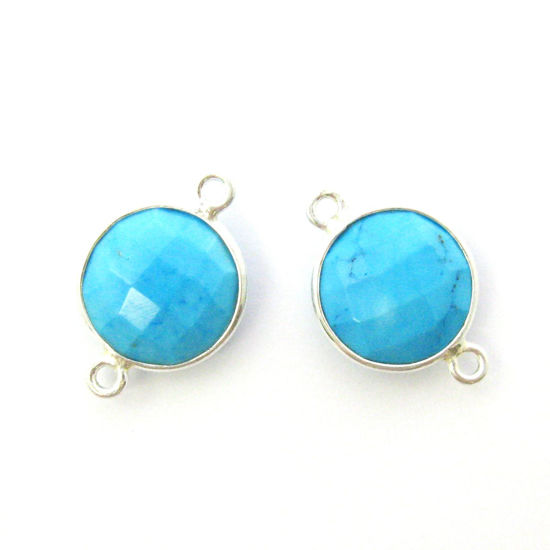 Wholesale Sterling Silver Turquoise Coin Bezel Gemstone Connector Links, Wholesale Gemstone Charms and Pendants for Jewelry Making