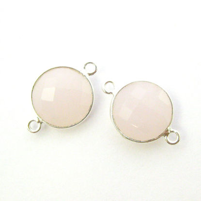 Wholesale Sterling Silver Pink Chalcedony Coin Bezel Gemstone Connector Links, Wholesale Gemstone Charms and Pendants for Jewelry Making