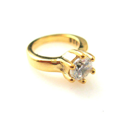 Wholesale Gold plated Sterling Silver Promise Ring Charm with CZ Cubic Zirconia Stone, Charms and Pendants for Jewelry Making, Wholesale Findings