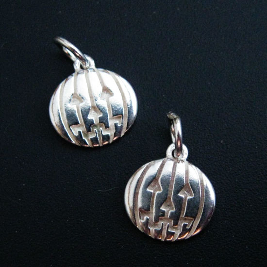 Wholesale Sterling Silver Round Pumpkin Disc Charm, Charms and Pendants for Jewelry Making, Wholesale Findings
