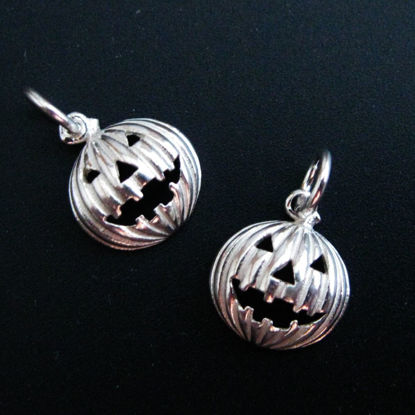 Wholesale Sterling Silver Pumpkin Jack-o-Lantern Charm, Charms and Pendants for Jewelry Making, Wholesale Findings