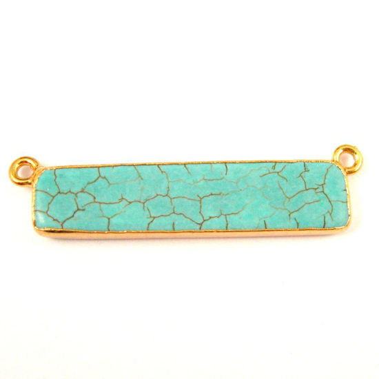 Wholesale Turquoise Bar Connector Pendant, Corner Connector Rings, Turquoise Nature Stone Gold plated, Gold Dipped Gemstone