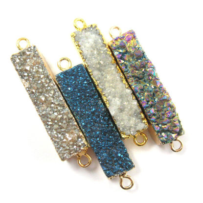Wholesale Druzy Gemstone Grey Agate Bar Gold Connector Pendant  Wholesale Pendants for Jewelry Making