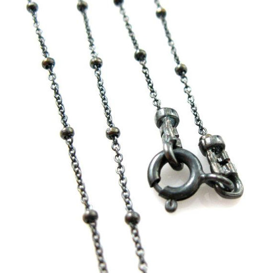 Wholesale Oxidized Sterling Silver Tiny Beaded Ball Cable Chain, Wholesale Bulk Necklace Chains