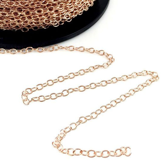 Wholesale Chain, Rose Gold plated Sterling Silver Vermeil 3x4mm Strong Cable Oval Chain, bulk chain by the foot