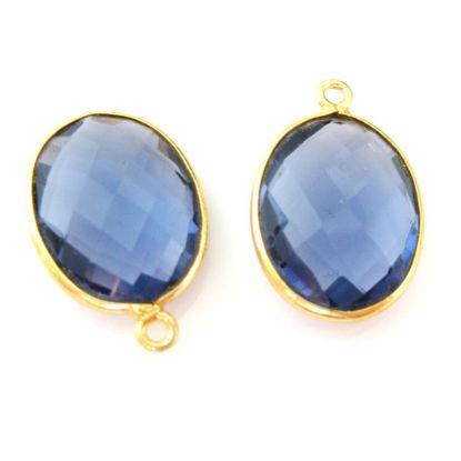 Wholesale Gold plated Sterling Silver Oval Bezel Blue Topaz Quartz Gemstone Pendant, Wholesale Gemstone Pendants for Jewelry Making