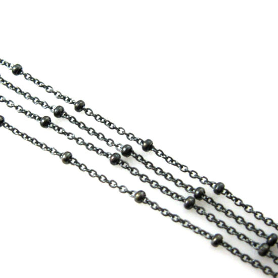 Wholesale Chains, Oxidized Sterling Silver Beaded Ball Satellite Chain, Bulk Chain by the foot