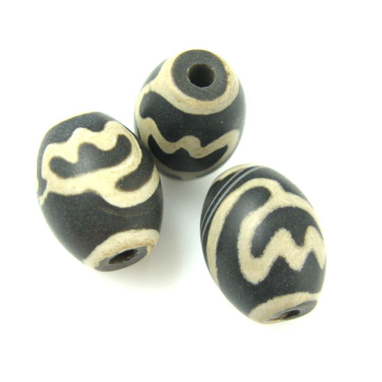 Wholesale Carnelian dZi bead - Oval Shape Lotus Body - Black-- 16mm by 12 mm ( 3 pcs)