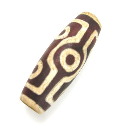 Wholesale Carnelian dZi bead - Olive Shape with 7-Eyes Totem - 40mm by 14 mm (1 pc)