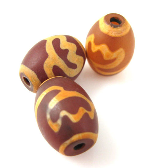 Wholesale Carnelian dZi bead - Oval Shape with Lotus Body Totem -- 16 mm by 12 mm ( 3 pcs)