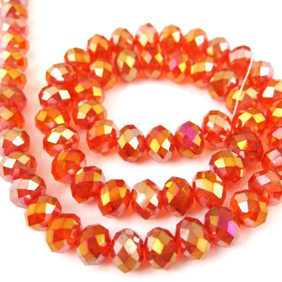 Wholesale Crystal Glass beads, 8X6mm Faceted Rondelle, Red, AB Finish