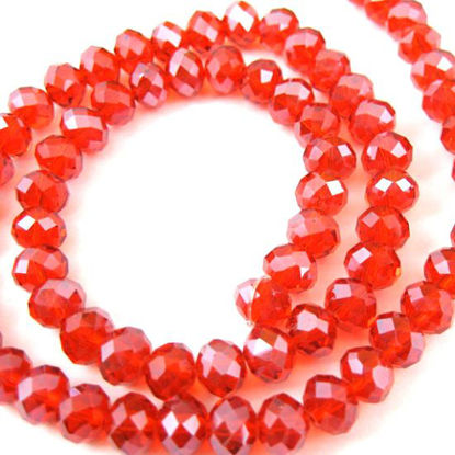 Wholesale Crystal Glass beads, 8X6mm Faceted Rondelle,Red,Sparkle Finish