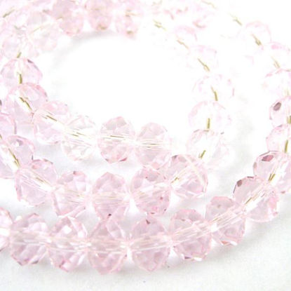 Wholesale Crystal Glass Beads, Faceted Rondell, 8mm by 6mm, Pink