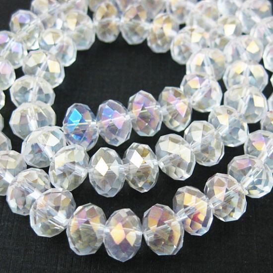 Wholesale Crystal Glass beads, 8X6mm Faceted Rondelle,Clear color, AB