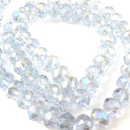 Wholesale Crystal Glass beads, 8X6mm Faceted Rondelle,Light Blue, AB