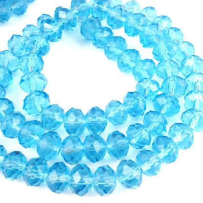 Wholesale Crystal Glass beads, 8X6mm Faceted Rondelle,Sky Blue