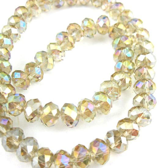 Wholesale Crystal Glass beads 8X6 Faceted Rondelle,Silver Champagne, AB