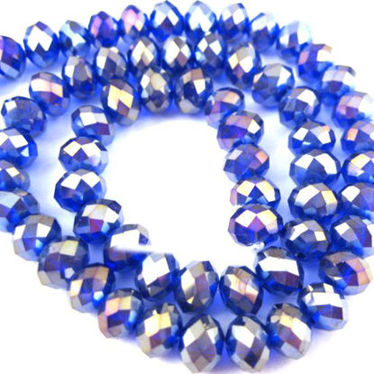 Wholesale Crystal Glass beads, 8X6mm Faceted Rondelle,Blue, AB