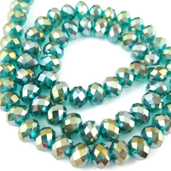 Wholesale Crystal Glass beads, 8X6mm Faceted Rondelle,Peacock Green,AB