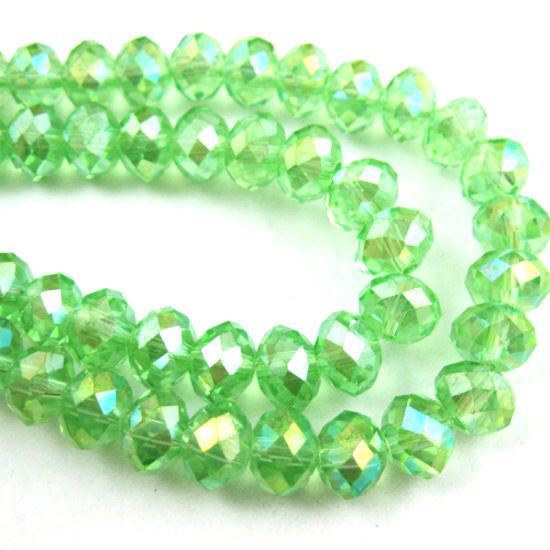 Wholesale Crystal Glass beads, 8X6mm Faceted Rondelle,Apple Green,AB