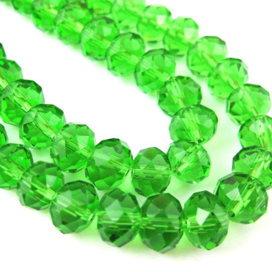 Wholesale Crystal Glass beads, 8X6mm Faceted Rondelle,Grass Green