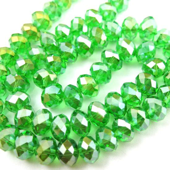 Wholesale Crystal Glass beads,8X6mm Faceted Rondelle,Grass Green,AB