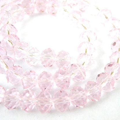 Wholesale Crystal Glass Beads, Faceted Rondell, 6mm by 4mm, Pink