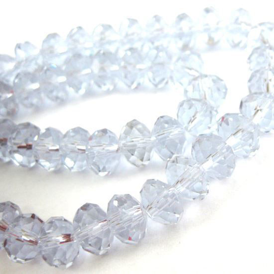 Wholesale Crystal Glass beads, 6X4mm Faceted Rondelle,Light Blue