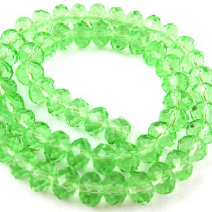 Wholesale Crystal Glass beads, 6X4mm Faceted Rondelle,Apple Green