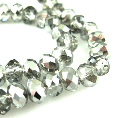Wholesale Crystal Glass beads 6X4 Faceted Rondelle, Grey Color