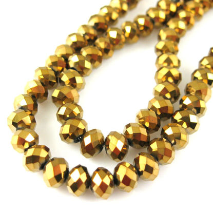 Wholesale Crystal Glass beads 6X4 Faceted Rondelle, Gold Color