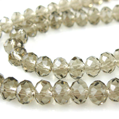 Wholesale Crystal Glass beads 6X4 Faceted Rondelle, Dark Grey Color