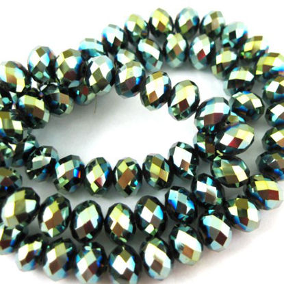 Wholesale Crystal Glass beads, 6X4mm Faceted Rondelle,Green+Coating