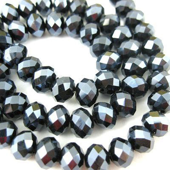 Wholesale Crystal Glass beads, 4X3mm Faceted Rondelle,Black,Sparkle Finish