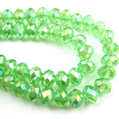Wholesale Crystal Glass beads, 4X3mm Faceted Rondelle,Apple Green,AB