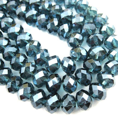 Wholesale Crystal Glass beads, 4X3mm Faceted Rondelle,Dark Blue + Sparkle