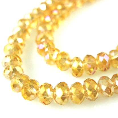 Wholesale Crystal Glass beads 4X3 Faceted Rondelle, AB Finish,  Light Citrine Color