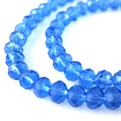 Wholesale Crystal Glass beads 4X3 Faceted Rondelle, Blue