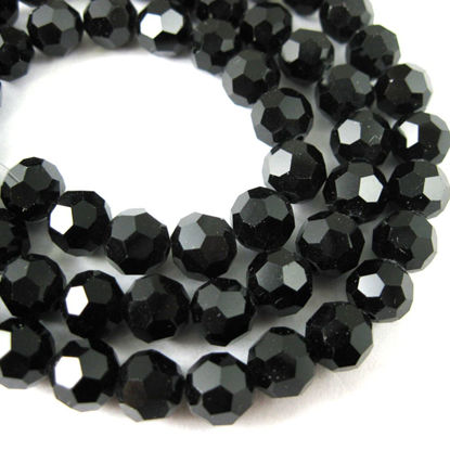 Wholesale Crystal Glass Beads 4mm Round Faceted Beads, Shiny Black