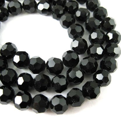 Wholesale Crystal Glass Beads 8mm Round Faceted Beads, Shiny Black