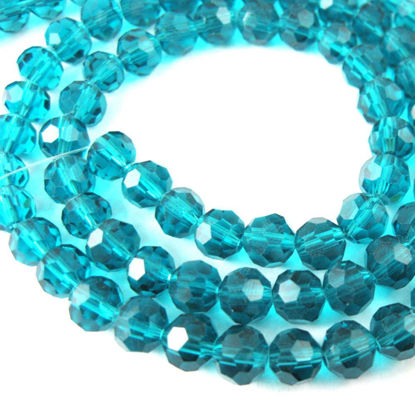 Wholesale Crystal Glass Beads 6mm Round Faceted Beads, Peacock Blue