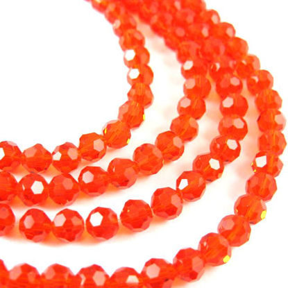 Wholesale Crystal Glass Beads 4mm Round Faceted Beads, Red Color