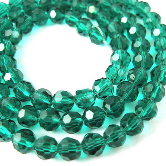 Wholesale Crystal Glass Beads 6mm Round Faceted Beads, Peacock Green Color