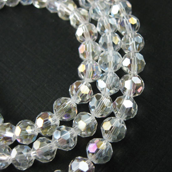 Wholesale Crystal Glass Beads 8mm Round Faceted Beads, Clear Crystal AB